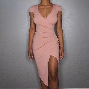 Boohoo Night Cap Sleeve Wrap Midi Dress